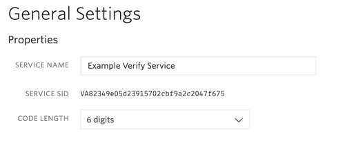 Verify service in the twilio console showing service name, service SID, and code length setting