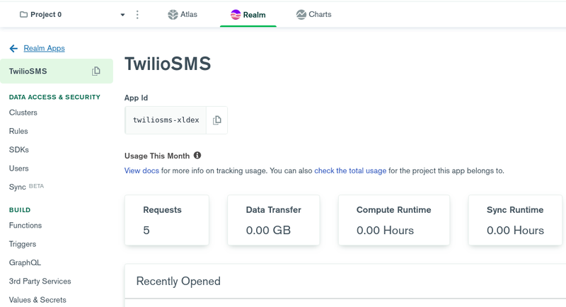 TwilioSMS Realm App