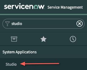 Pantalla ServiceNow con opciones de aplicación del sistema