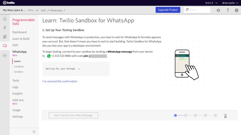 Sandbox de Twilio para WhastApp