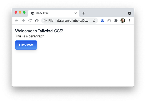 TailwindCSS styled page with a button with gradient background