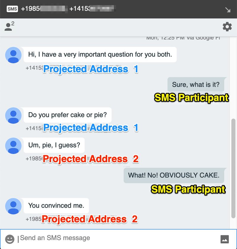 Conversation between two Chat-based Participants with projected addresses and one SMS Participant joining with their mobile number