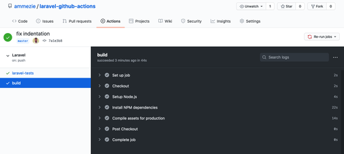 GitHub actions build record