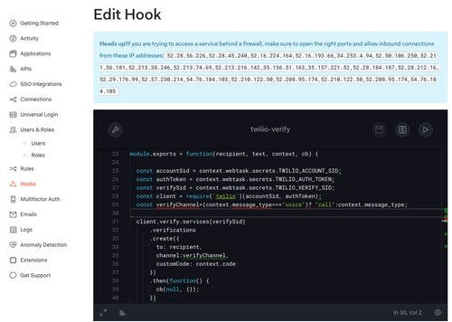 Auth0 editing the hook