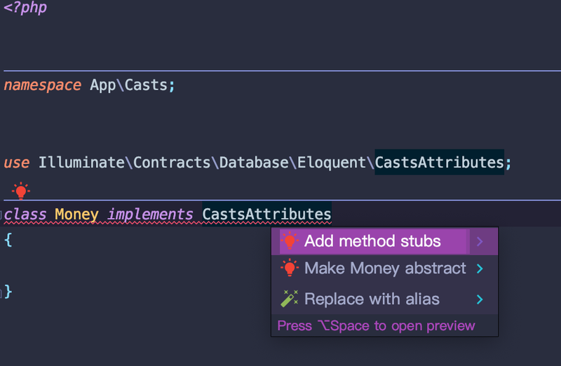 PHPStorm - add method stubs typehinting
