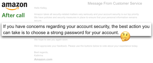 Amazon email message about security concerns