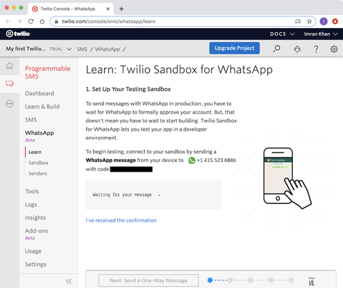 twilio whatsapp sandbox