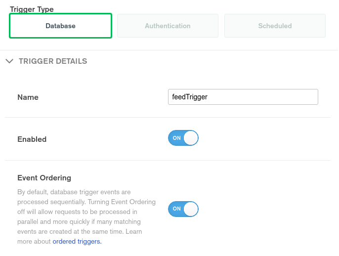 EvenTrigger for database