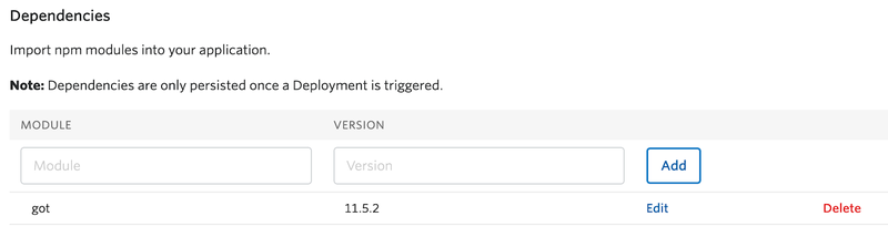 Add Twilio Functions Dependencies page