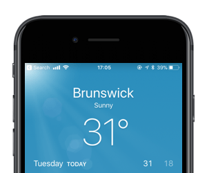 The iPhone weather app showing that it's 31°C and sunny.
