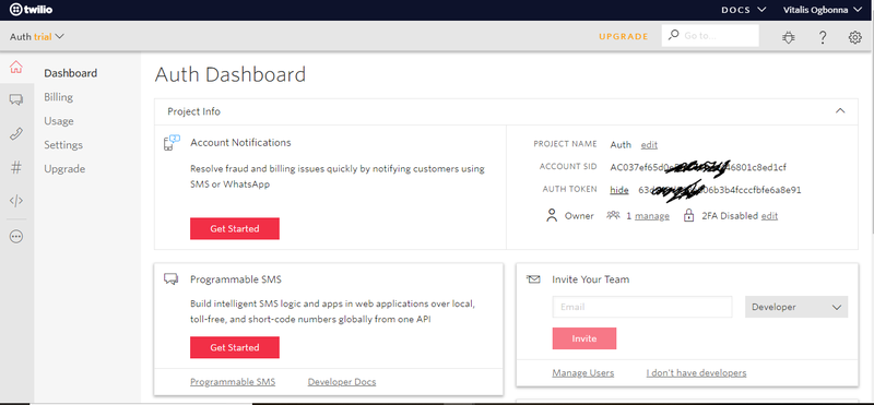 Twilio dashboard screenshot