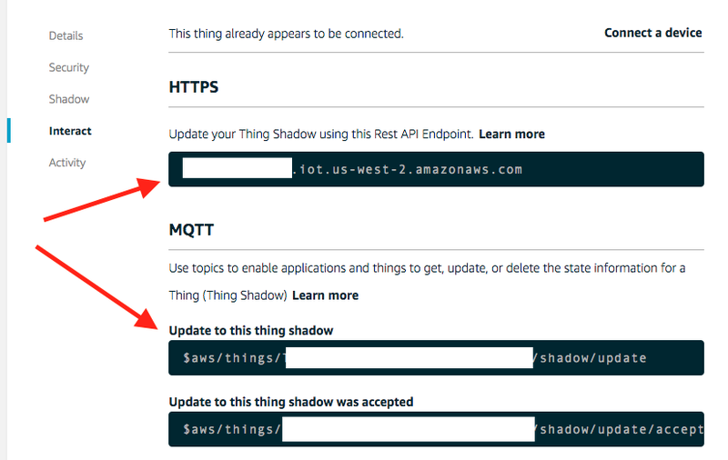 HTTPS Endpoint and MQTT Shadow Update