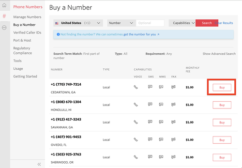 Buy the selected Twilio number