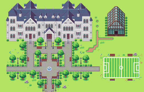 Image of a map created in the Tiled program showing a large estate with trees, walkways, a fountain, a soccar field, and a greenhouse.