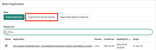A screenshot of the Select Application window in the ServiceNow dashboard