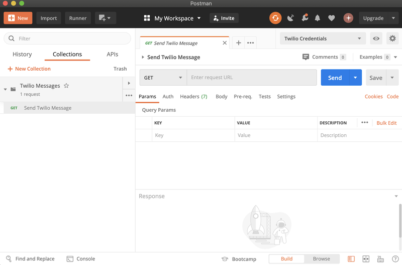 """postman dashboard showing the """"send twilio message"""" collection"""