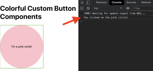 screenshot of the console log when inspecting the pink circle element on the HTML page