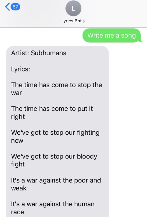 Computer-generated Subhumans song