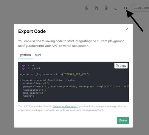 Export code to Python