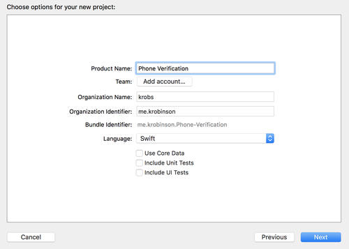 xcode project creation