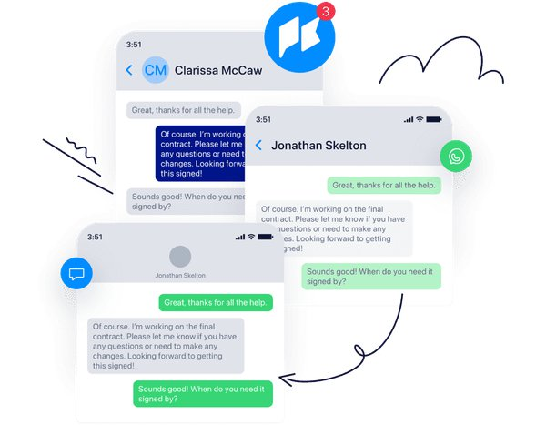 Illustration of Twilio Frontline's ability to communicate with customers across digital channels