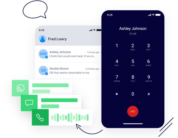 Illustration of Twilio Frontline's Voice and Messaging interface Update bullet points