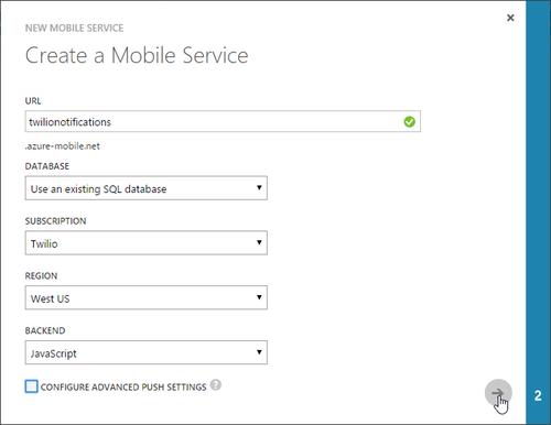Create a new Mobile Service