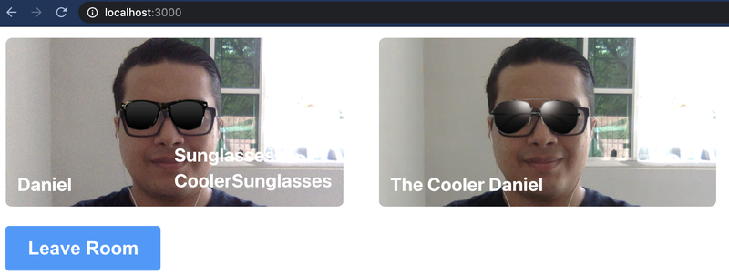 "2 images of author with filters -- left labeled ""Daniel"" with plain sunglasses; right is ""The Cooler Daniel"" with aviators."