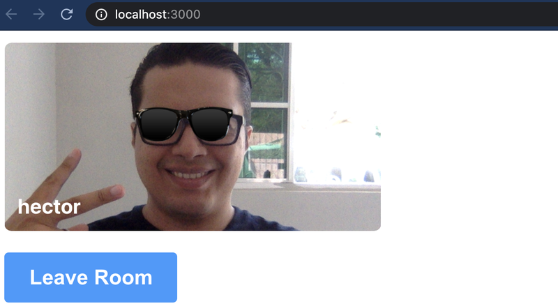 "Browser pointing to localhost:3000 with an image of the author, ""hector"", smiling with a sunglasses filter over his eyes."