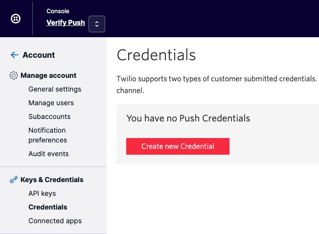 Create credential in Console