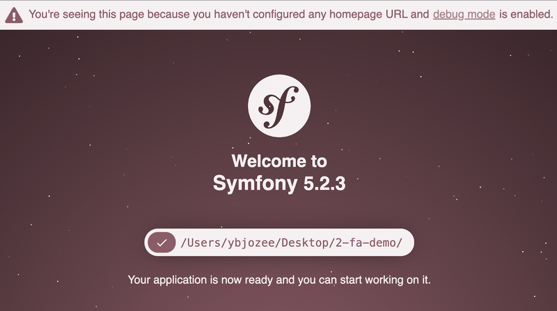 The default Symfony welcome page
