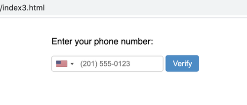 phone number input field with US flag and country code dropdown, including placeholder text for a phone number