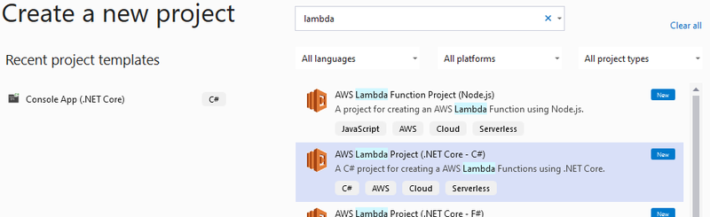 Create a C# Lambda project