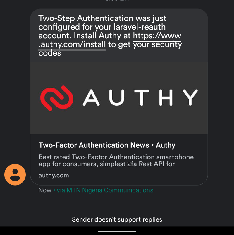 Screenshot of Authy SMS notification