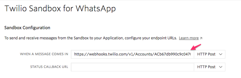 WhatsApp Sandbox webhook setup