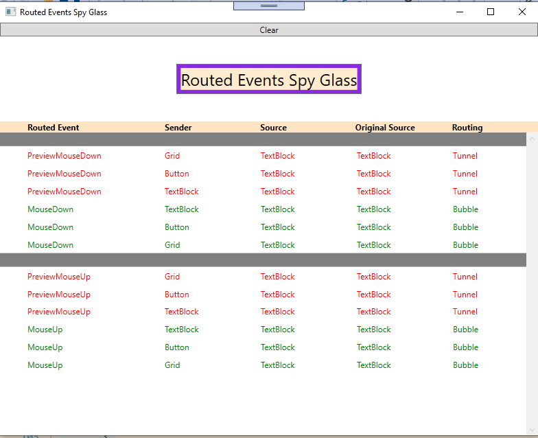 Routed Events Spy Glass Application Screenshot - right click