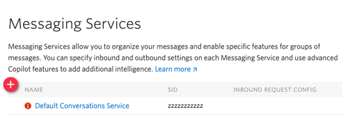 "Screenshot of the Messaging Services dashboard. There is a ""Default Conversations Service"" configuration link which is where we need to navigate to."