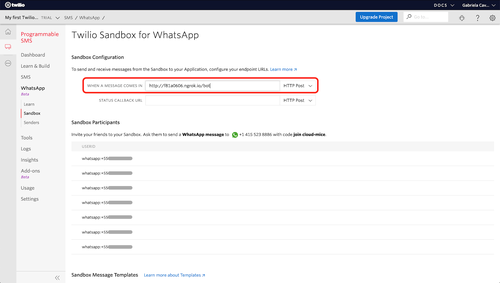 whatsapp sandbox webhook configuration
