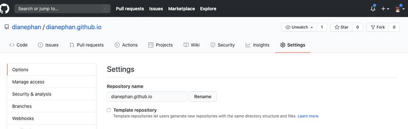 GitHub repo settings