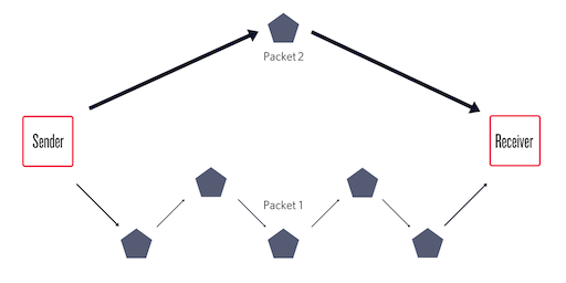Example of Different Route Taken by Two Packets