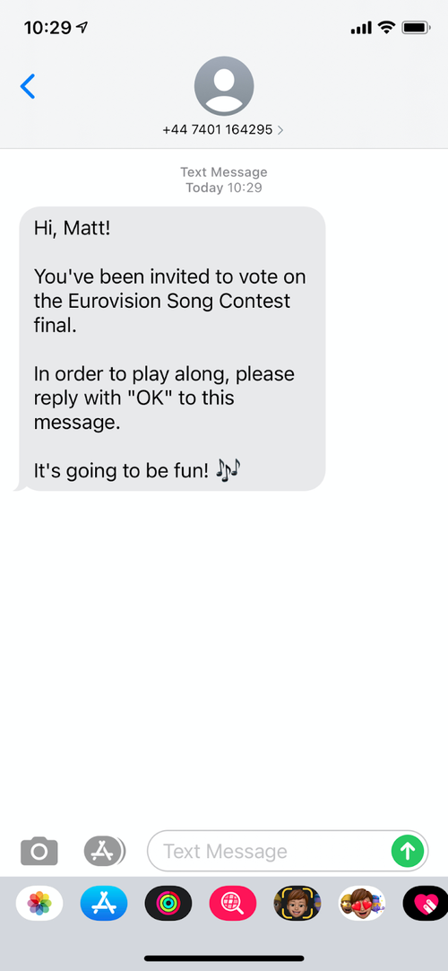 SMS Invitation to the context
