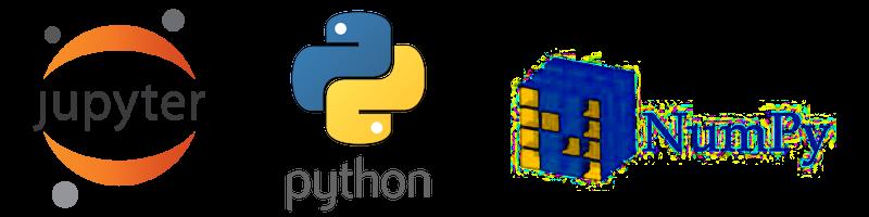 Jupyter, Python and NumPy logos