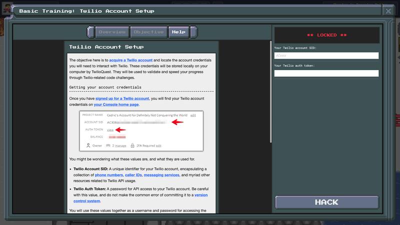 TwilioQuest3 - Basic Mission - Account Setup