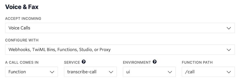 Captura de tela mostrando a configuração de webhook do número de telefone da Twilio