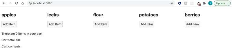 Screenshot showing update app UI with cart information displayed below items.