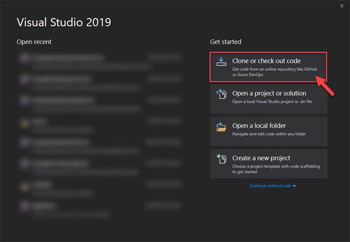 Visual Studio Clone or check out code screenshot