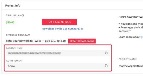 Retrieve your Twilio auth token and account SID