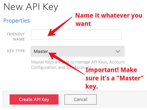 API keys, naming and type