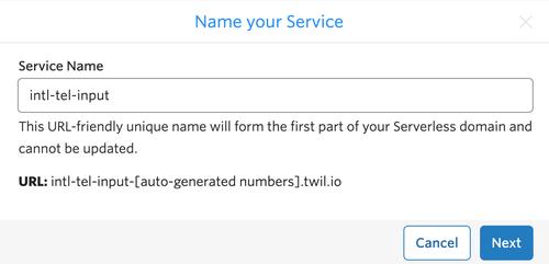 Twilio Funktionsservice namens intl-tel-input