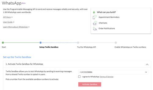 Captura de pantalla de activación de Twilio WhatsApp Sandbox